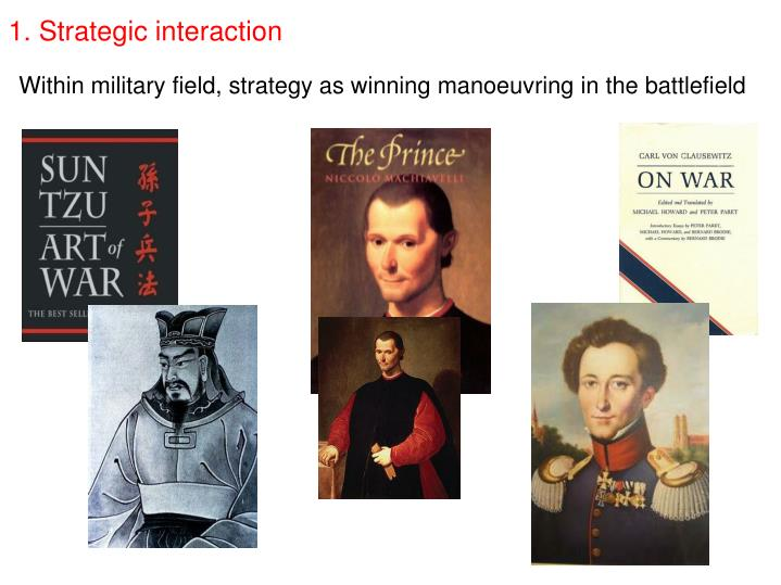 Within military field, strategy as winning manoeuvring in the battlefield