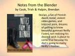 notes from the blender by cook trish halpin brendan