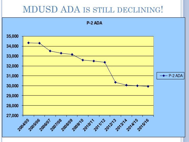 MDUSD ADA is still declining!