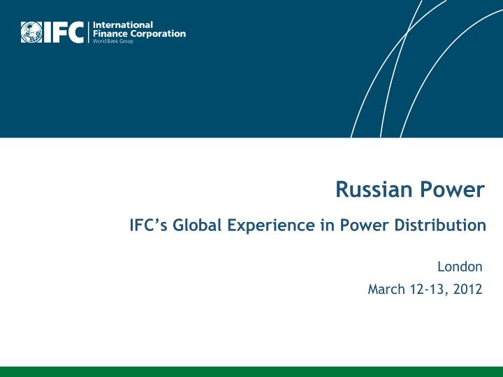 ifc s global experience in power distribution n.