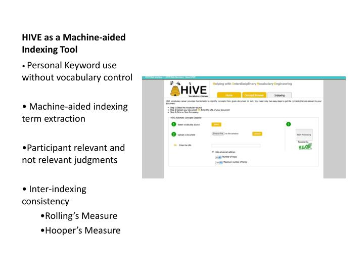 hive as a machine aided indexing tool n.