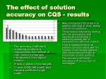 the effect of solution accuracy on cqs results