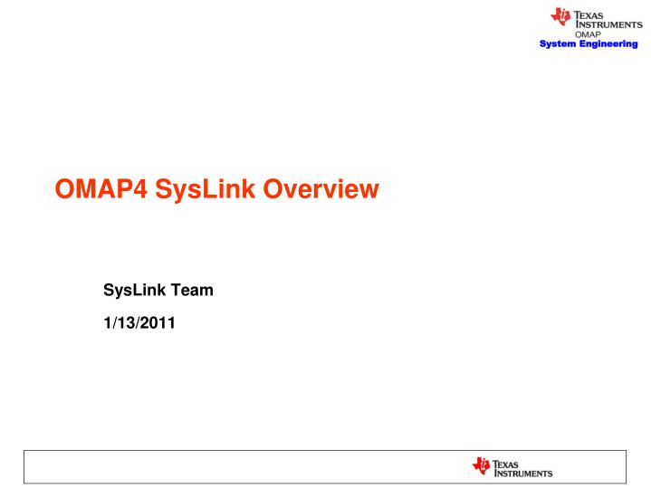 omap4 syslink overview n.