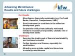 advancing microfinance results and future challenges