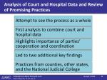 analysis of court and hospital data and review of promising practices