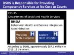 dshs is responsible for providing competency services at no cost to courts