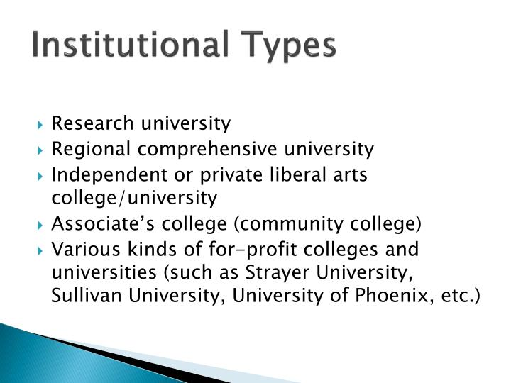 institutional types n.