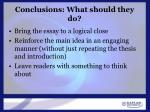 conclusions what should they do