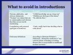 what to avoid in introductions