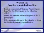 workshop creating a post draft outline