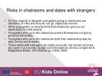 risks in chatrooms and dates with strangers