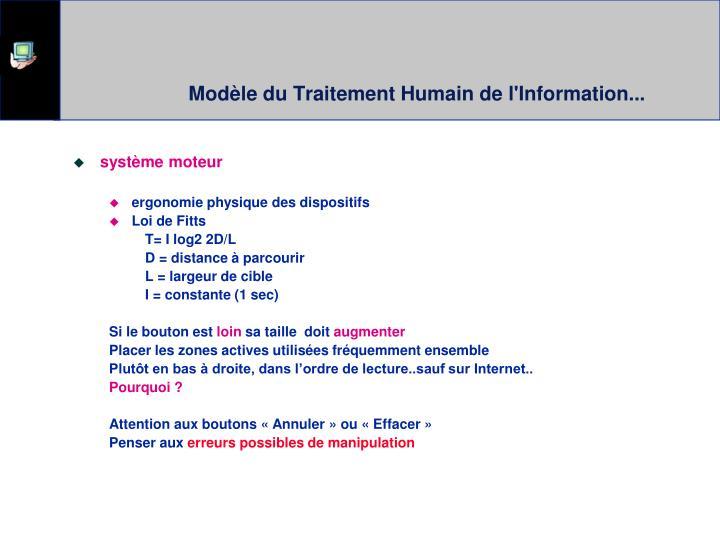 Modèle du Traitement Humain de l'Information...