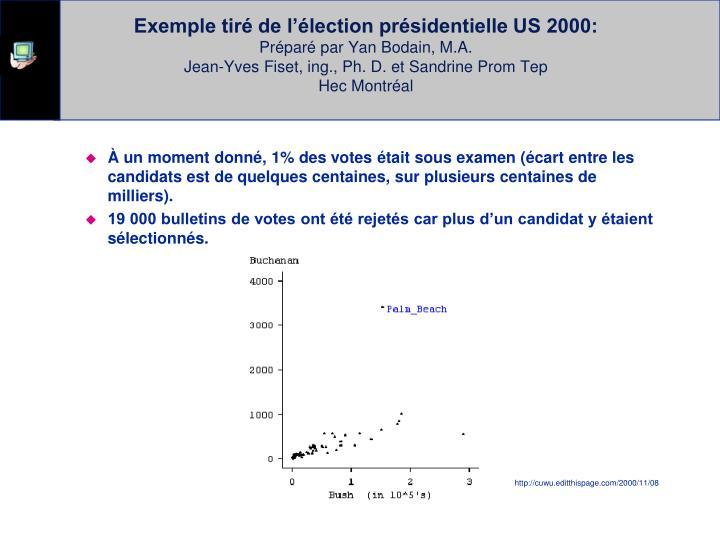 Exemple tiré de l'élection présidentielle US 2000:
