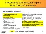 credentialing and resource typing high priority occupations