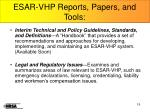 esar vhp reports papers and tools1