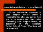 as an advocate patient it is your right 10