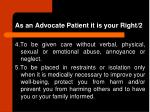 as an advocate patient it is your right 2