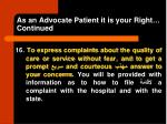 as an advocate patient it is your right continued1
