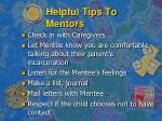 helpful tips to mentors