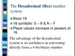 the hexadecimal hex number system