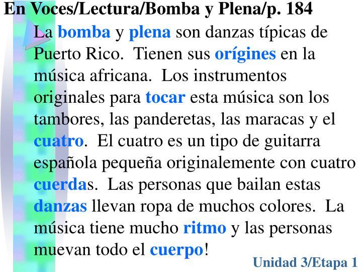 En Voces/Lectura/Bomba y Plena/p. 184