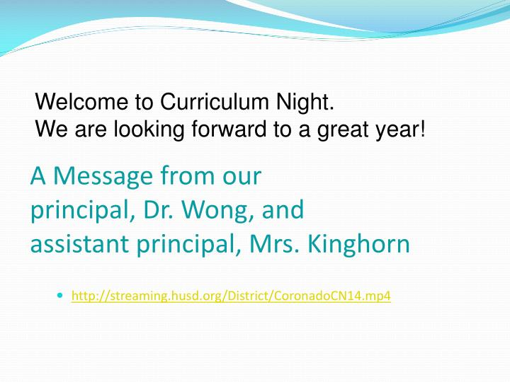 a message from our principal dr wong and assistant principal mrs kinghorn n.