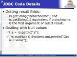 jdbc code details