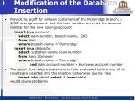 modification of the database insertion1
