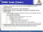 odbc code cont