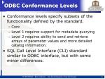 odbc conformance levels