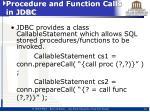 procedure and function calls in jdbc