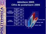 admitere 2005 cifre de colarizare 2006