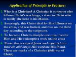application of principle to practice