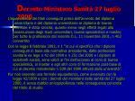 d ecreto ministero sanit 27 luglio 20001