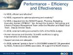 performance efficiency and effectiveness