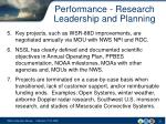 performance research leadership and planning