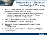 performance research leadership planning