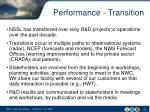 performance transition