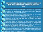 recent legislations and reforms for the implementing eu regulations 2
