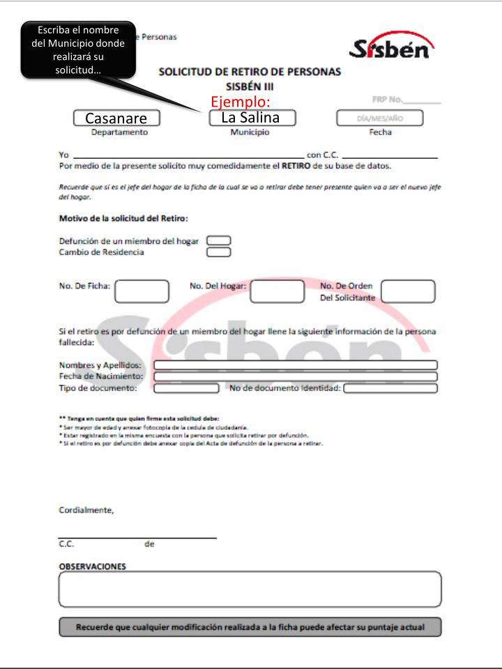Escriba el nombre del Municipio donde realizará su solicitud…