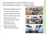 department of electrical and electronics engg lab f acility