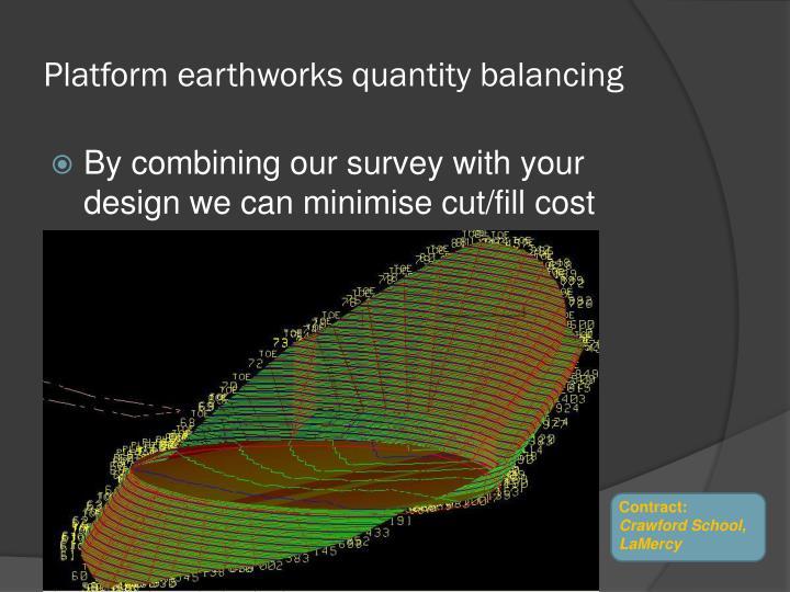 Platform earthworks quantity balancing