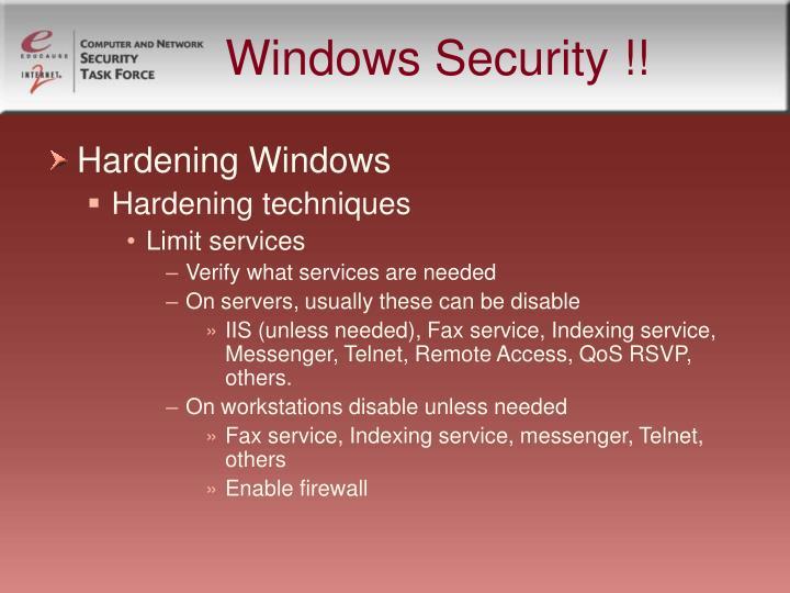 Windows Security !!