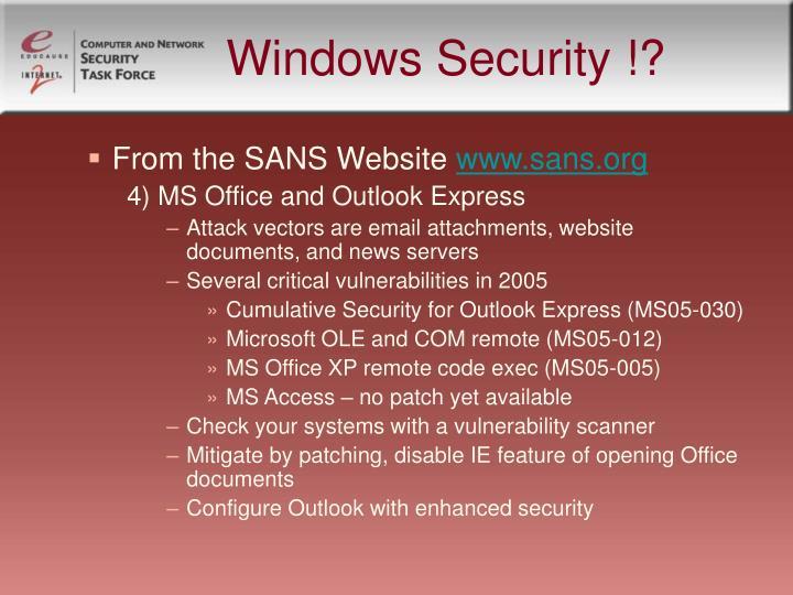 Windows Security !?