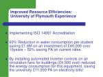 improved resource efficiencies university of plymouth experience