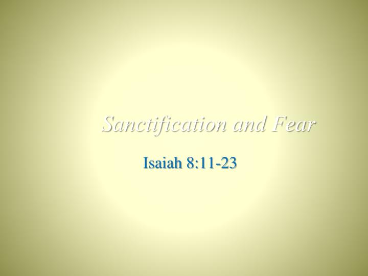 sanctification and fear n.