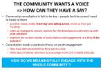 the community wants a voice how can they have a say