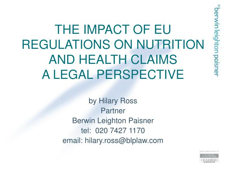the impact of eu regulations on nutrition and health claims a legal perspective n.