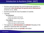 introduction to auctions vidal 2007