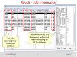 result job information